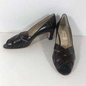 Talbots brown croc embossed leather open toe heels